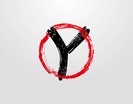 Y Letter Logo With Red Circle Grunge Splatter Element. Retro Y logo design template.