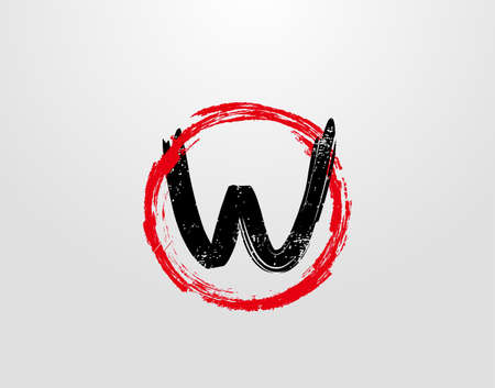 W Letter Logo With Red Circle Grunge Splatter Element. Retro W logo design template.