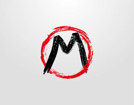 M Letter Logo With Red Circle Grunge Splatter Element. Retro M logo design template.