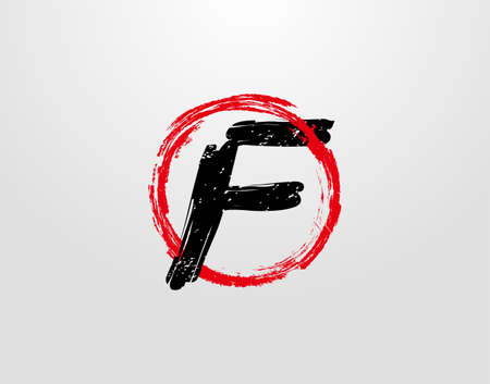 F Letter Logo With Red Circle Grunge Splatter Element. Retro F logo design template.