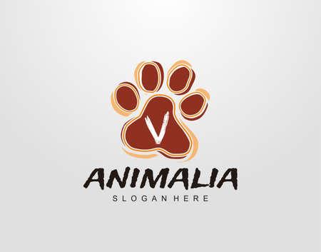 V Letter in Paw Shape Design. Pet logo design. Dog, Cat, animal clinic, pet care center. Paw vector logo Icon Template.