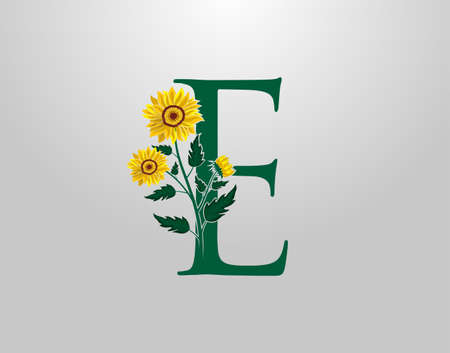 Letter E vector alphabet with sunflower. Flower Plant Logo Icon. Typography design