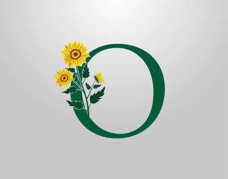 Letter O vector alphabet with sunflower. Flower Plant Logo Icon. Typography design