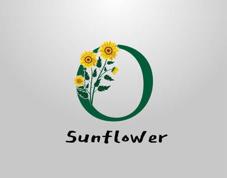 O Letter with sunflower vector design. Flower Plant O Logo Icon. Typography design Logo