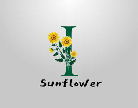 I Letter with sunflower vector design. Flower Plant I Logo Icon. Typography design