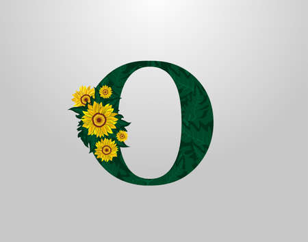 O Letter with sunflower vector design. Flower O Logo Icon. Typography design