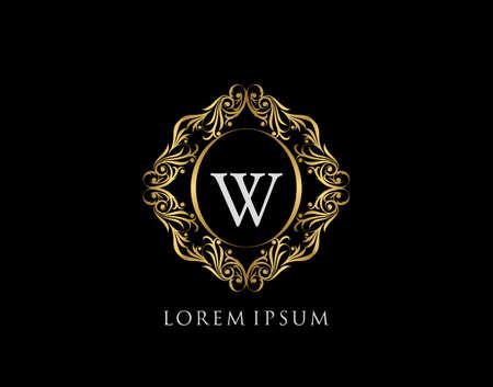Luxury Badge WLetter Logo. Luxury gold calligraphic vintage emblem with beautiful classy floral ornament. Elegant Frame design Vector illustration.