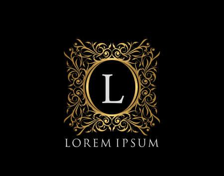 Luxury Badge Letter L Logo. Luxury gold calligraphic vintage emblem with beautiful classy floral ornament. Classy Frame design Vector illustration. Illusztráció