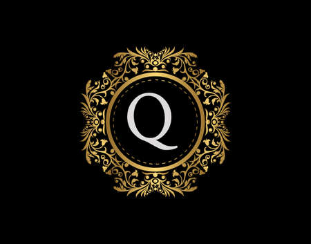Luxury Badge Letter Q Logo. Luxury gold calligraphic emblem with beautiful classic floral ornament. Classy Frame design Vector illustration. Logo
