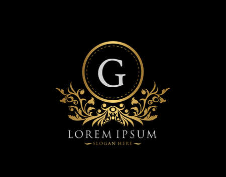 Luxury Boutique Logo. Letter G with gold calligraphic emblem and classic floral ornament. Classy Frame design Vector illustration.