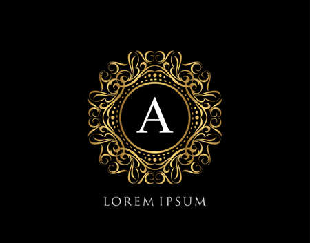 Calligraphic Badge with Letter A Design. Ornamental luxury golden logo design vector illustration.