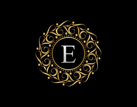 Gold Calligraphic Badge with Letter E Design. Ornamental luxury golden logo design vector illustration.
