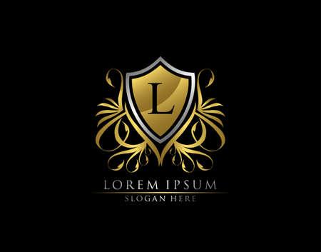 Gold Royal Shield L Letter Logo. Graceful Elegant gold shield icon design.