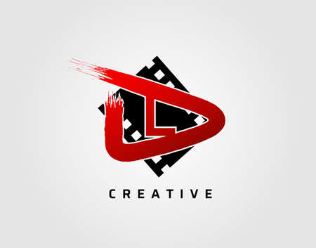 Movie play letter L logo design concept template. Abstract Video Play Icon.