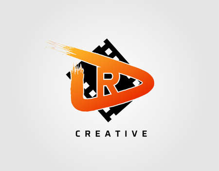 Movie play letter R logo design concept template. Abstract Video Play Icon.