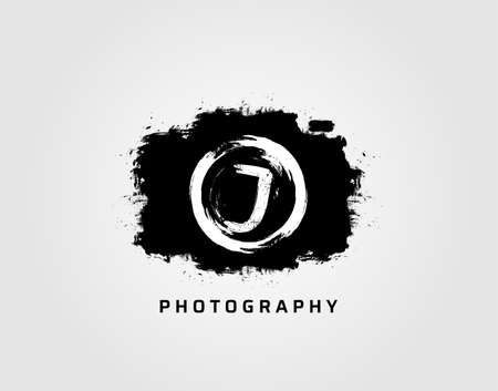 Photography letter J logo design concept template. Rusty Vintage Camera Logo Icon.