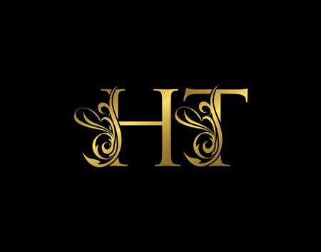 Gold H, T and HT Luxury Letter Logo Icon. Graceful royal style. Luxury alphabet arts logo.