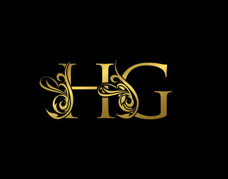 Gold H, G and HG Luxury Letter Logo Icon. Graceful royal style. Luxury alphabet arts logo.