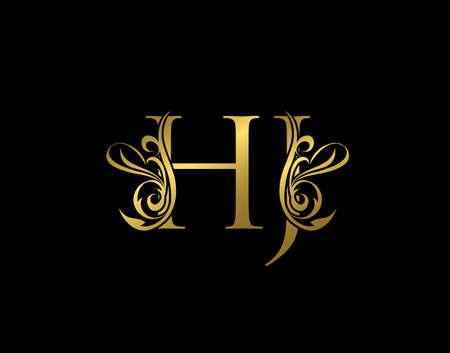 Gold H, J and HJ Luxury Letter Logo Icon. Graceful royal style. Luxury alphabet arts logo.