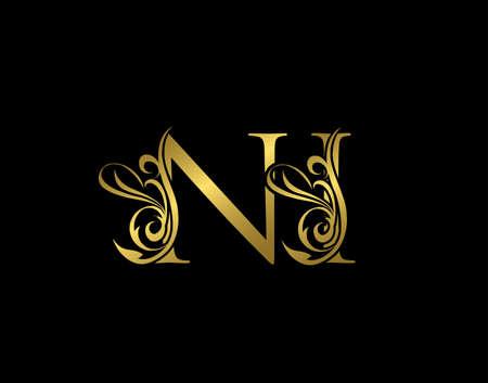 Gold N, I and NI Luxury Letter Logo Icon. Graceful royal style. Luxury alphabet arts logo.