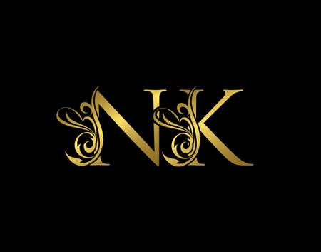 Gold N, K and NK Luxury Letter Logo Icon. Graceful royal style. Luxury alphabet arts logo.