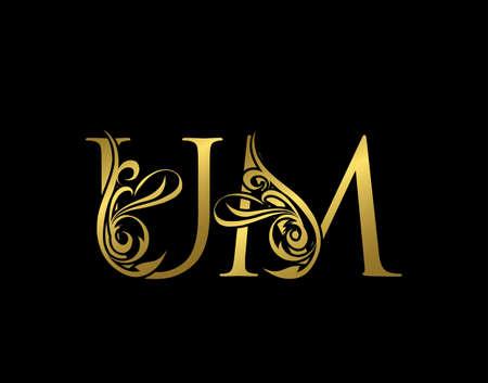 Golden U, M and UM Luxury Letter Logo Icon. Graceful royal style. Luxury gold alphabet arts logo. Logo