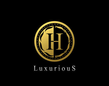 Luxury Circle H Letter Floral Design. Vintage Gold H Royal Logo Icon. Logo