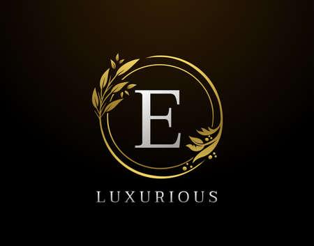 Elegant E Letter Floral Design. Circle Luxury E Gold Logo Icon.