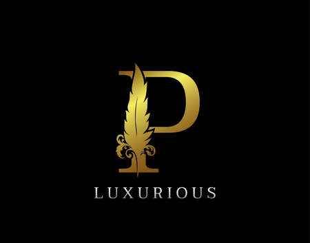 Golden Feather Letter P Luxury Brand Logo icon, vector design concept feather with letter for initial luxury business, firm, law service, boutique and more brand identity.