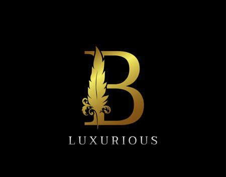 Golden Feather Letter B Luxury Brand Logo icon, vector design concept feather with letter for initial luxury business, firm, law service, boutique and more brand identity.
