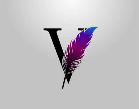 Feather V Letter Brand Logo icon, vector design concept feather with letter for initial luxury business, firm, law service, boutique and more brand identity.