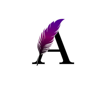 Feather A Letter Brand Logo icon, vector design concept feather with letter for initial luxury business, firm, law service, boutique and more brand identity. 版權商用圖片 - 155398853