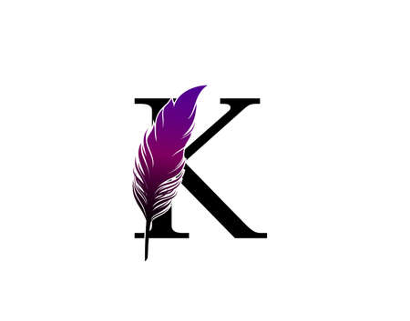 Feather K Letter Brand Logo icon, vector design concept feather with letter for initial luxury business, firm, law service, boutique and more brand identity.