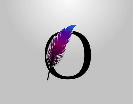 Feather O Letter Brand Logo icon, vector design concept feather with letter for initial luxury business, firm, law service, boutique and more brand identity. 版權商用圖片 - 155398858