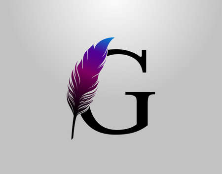 Feather G Letter Brand Logo icon, vector design concept feather with letter for initial luxury business, firm, law service, boutique and more brand identity.