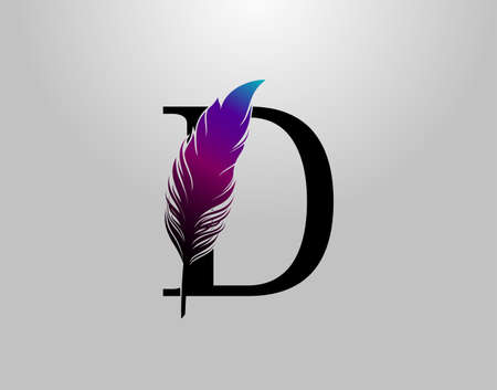 Feather D Letter Brand Logo icon, vector design concept feather with letter for initial luxury business, firm, law service, boutique and more brand identity. 版權商用圖片 - 155398860