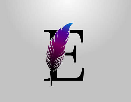 Feather E Letter Brand Logo icon, vector design concept feather with letter for initial luxury business, firm, law service, boutique and more brand identity. 版權商用圖片 - 155398861