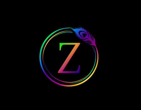 Z Letter Decorated With Hologram Color Peacock Feather. Circle Badge With Peacock Feather.
