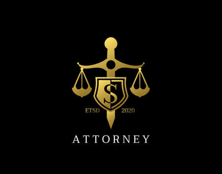 S Letter Law Logo design with golden sword, shield, wreath symbol vector design. Perfect for for law firm, company, lawyer or attorney office logo.