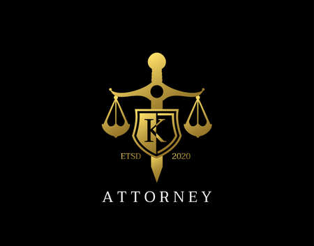 K Letter Law Logo design with golden sword, shield, wreath symbol vector design. Perfect for for law firm, company, lawyer or attorney office logo. Logo