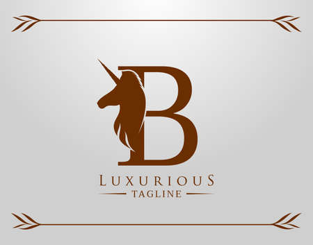 Capital Letter B with a Unicorn. Royal Logo. King Stallion in Jump. Unicon Letter Icon. Stylish Graphic Template Design