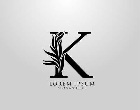 Letter K logo Nature Leaves Logo, alphabetical leaf icon. Ilustração