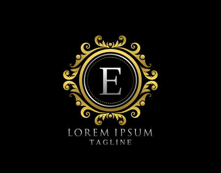Royal Circle E Letter Logo. Luxury Circle Badge Gold design for Boutique, Royalty, Letter Stamp, Hotel, Heraldic, Jewelry, Restaurant, Wedding.