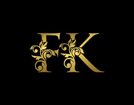Gold F, K and FK Luxury Letter Logo Icon. Graceful royal style. Luxury golden alphabet arts logo. Logó