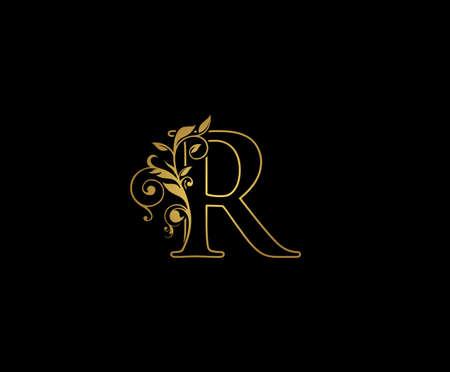 Golden R Luxury Logo Icon, Classy Letter Logo Design.