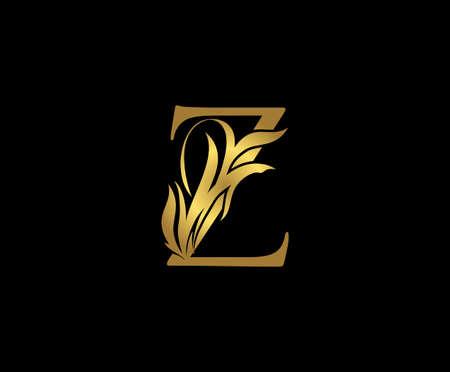 Golden Z Luxury Logo Icon, Classy Letter Logo Design.