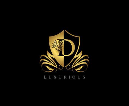 Golden D Luxury Shield Logo Icon Vector.
