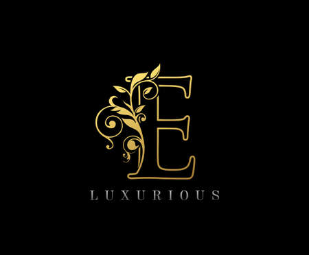 Golden E Luxury Logo Icon, Classy Letter Logo Design.