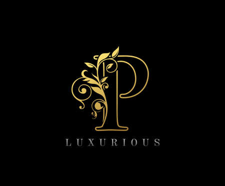 Golden P Luxury Logo Icon, Classy Letter Logo Design.