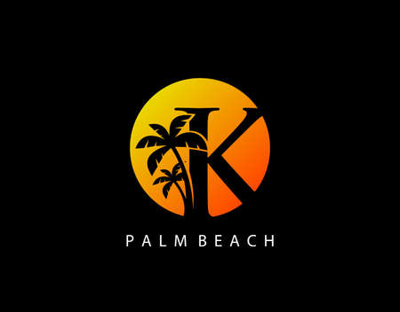 K Letter Palm Tree and Sun Set Logo Icon. Perfect for surfing shop, sport, Tour and Travel. Initial K with sunset and palm tree. Иллюстрация